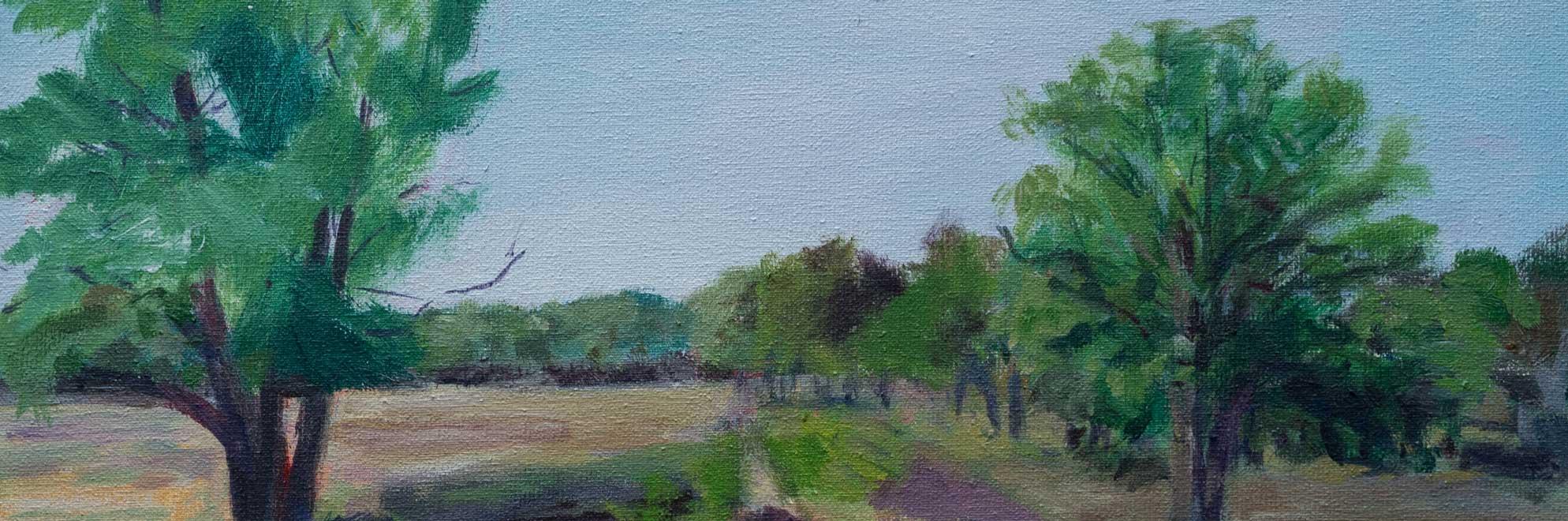 Schilderij door Marianne Mandeville Bussumse heide met bomen
