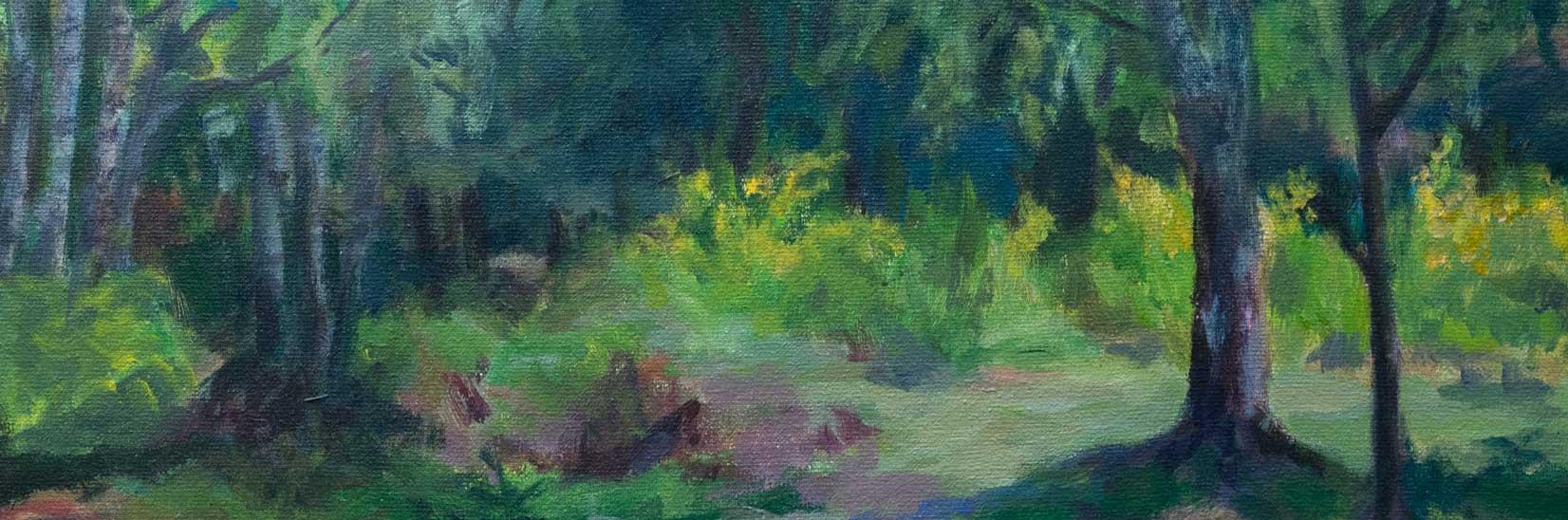 Schilderij door Marianne Mandeville Bussum gele bloemen in het bos